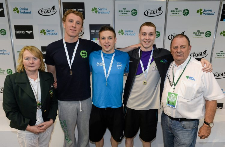 Medal recipients from the men's 400m freestyle final, in the company of Anne McAdam, President of Swim Ireland, and Ray Kendal, Event Director, Swim Ireland, from left, Bernard Cahill, Ennis, Brendan Gibbons, Athlone, and Brian O'Sullivan, Dundalk, during the 2015 Irish Open Swimming Championships at the National Aquatic Centre, Abbotstown, Dublin. Picture credit: Stephen McCarthy / SPORTSFILE