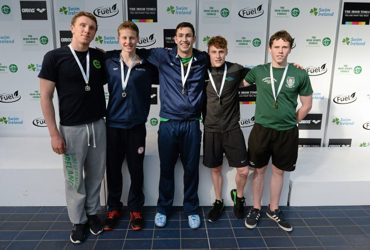Medal recipients from the men's 200m individual medley, from left, Bernard Cahill, Ennis, Justin Ress, NCSA, Alex Lebed, NCSA, Ben Griffin, Aer Lingus and Andrew Moore, Galway. 2015 Irish Open Swimming Championships at the National Aquatic Centre, Abbotstown, Dublin. Picture credit: Piaras Ó Mídheach / SPORTSFILE