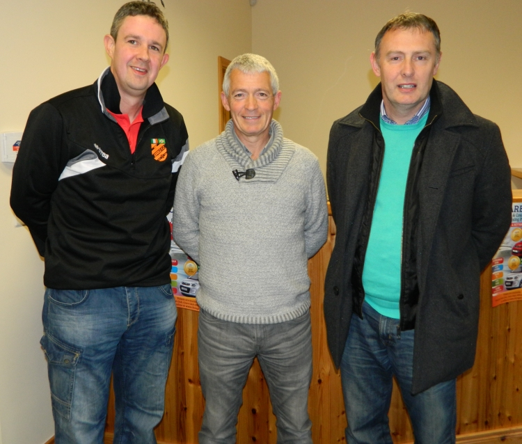 Clare referee John Dolan & Fintan McNamara with Cathal Egan at the Clare Camogie Referees Seminar in Clareabbey on Friday evening.