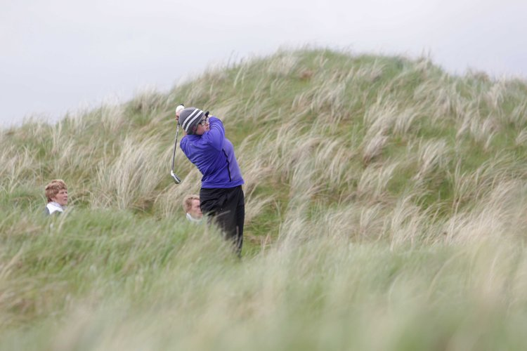 Clodagh Jones (Lahinch GC) teeing off on 16th Hole during the Munster Senior Cup Final at Lahinch GC Pic. Brian Arthur.