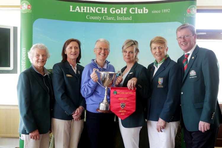 At the presentation of the ILGU Munster Senior Cup & Pennant to Lahinch GC were (L - R): Maeve O'Reilly (Lady President, Lahinch); Ber Murphy (Chairperson, ILGU Munster District); Aedin McCarthy (Team Manager); Stephanie MacGrath (Lady Captain, Lahinch); Valerie's Hassett (President, ILGU); Dan O'Donovan (Captain, Lahinch) Pic. Brian Arthur.