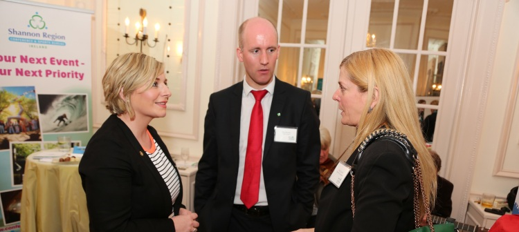 Karen Brosnahan, Shannon Region Conference & Sports Bureau; Paul Mockler, Fáilte Ireland; and Susan Lausch, Flight Safety Foundation, at the 'Meet in Ireland' business tourism event in Washington DC. Pic – Marty Katz