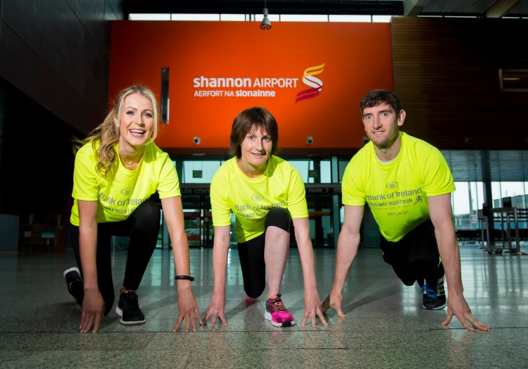 At the launch of the Shannon Airport Runway Run, sponsored by Bank of Ireland, are, from left to right, participant and model Mary Lee, from Gort, Co. Galway, Loreto Duggan, Shannon Airport, and Kerry footballer and BOI Youth Co-ordinator Killian Young. Shannon Airport, Co. Clare. Picture credit: Diarmuid
